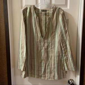 Tommy Bahama Green/Brown Striped Linen Blouse M